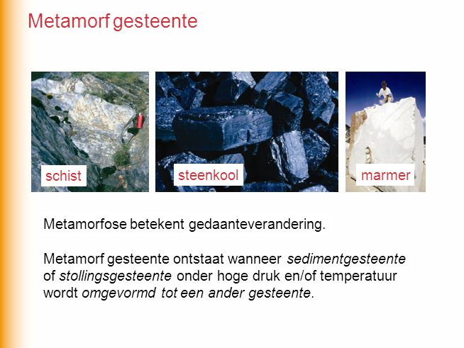 Metamorf gesteente schist steenkool marmer
