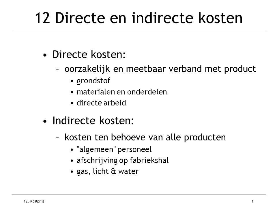 12 Directe en indirecte kosten