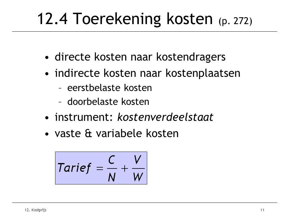 12.4 Toerekening kosten (p. 272)