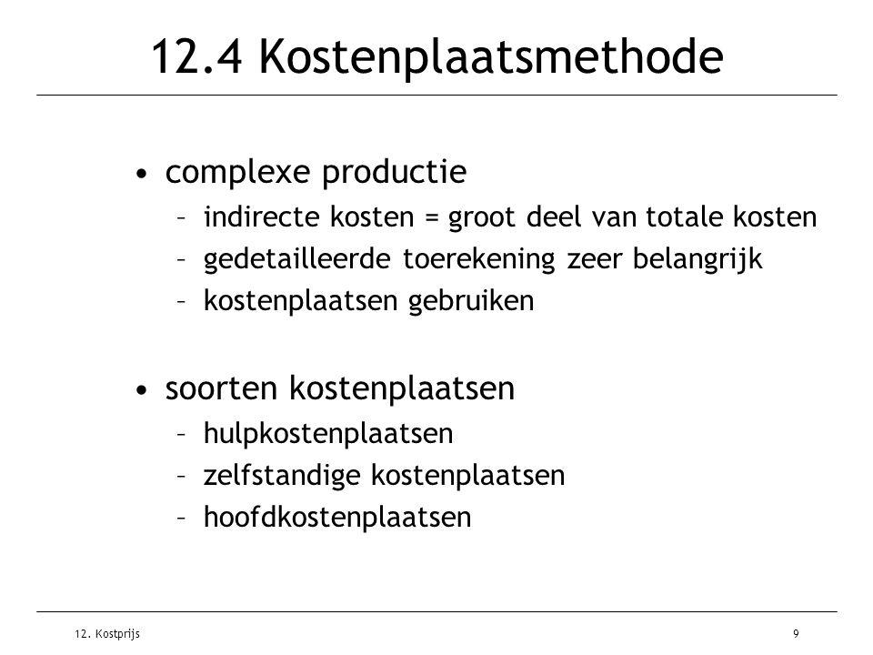 12.4 Kostenplaatsmethode complexe productie soorten kostenplaatsen