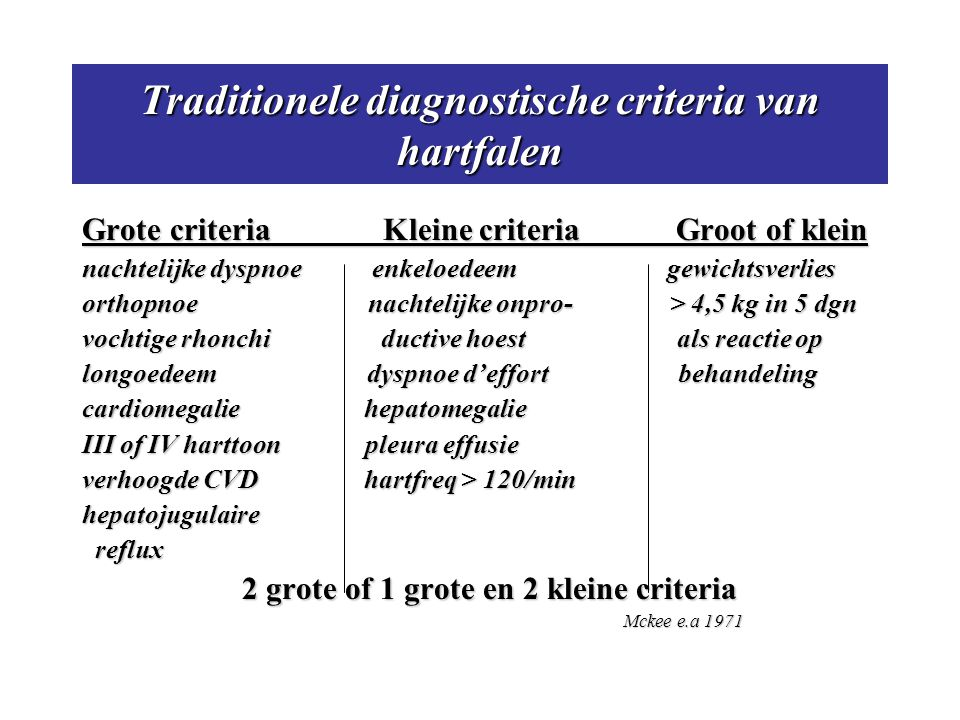 Traditionele diagnostische criteria van hartfalen