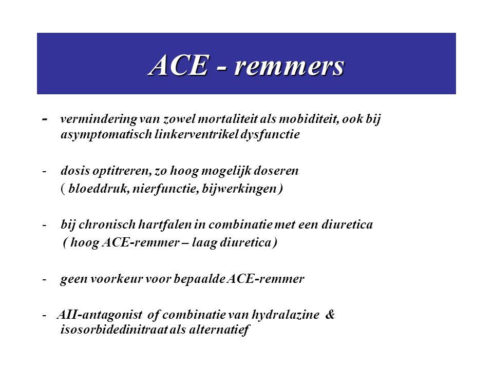 ACE - remmers - vermindering van zowel mortaliteit als mobiditeit, ook bij asymptomatisch linkerventrikel dysfunctie.