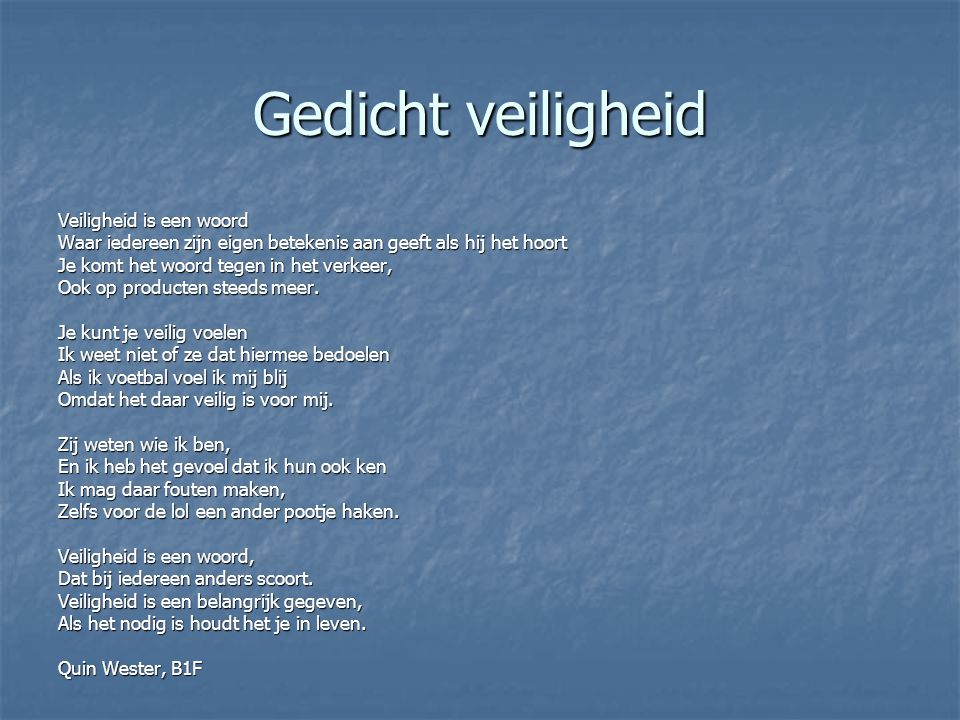 gedicht veiligheid veiligheid is een woord - ppt video online download