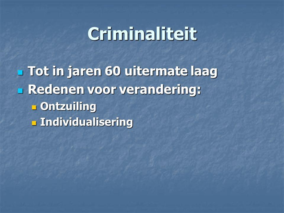 Criminaliteit Tot in jaren 60 uitermate laag Redenen voor verandering: