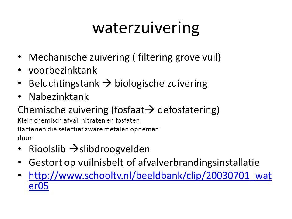 waterzuivering Mechanische zuivering ( filtering grove vuil)