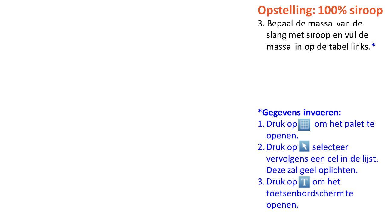 Opstelling: 100% siroop 3. Bepaal de massa van de slang met siroop en vul de massa in op de tabel links.*