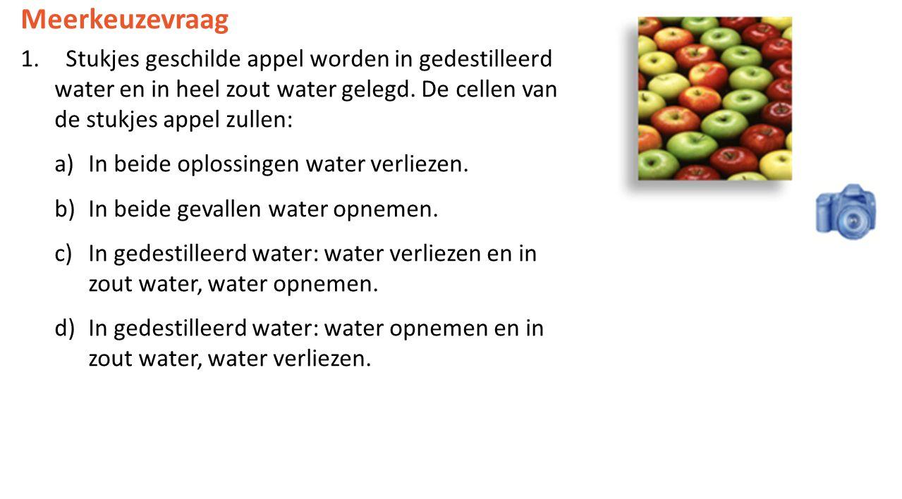 Meerkeuzevraag Stukjes geschilde appel worden in gedestilleerd water en in heel zout water gelegd. De cellen van de stukjes appel zullen: