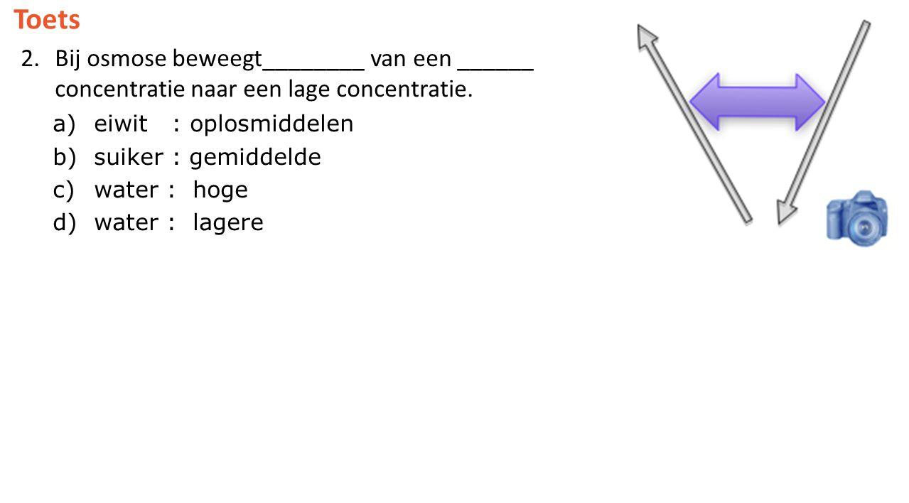 Toets Bij osmose beweegt________ van een ______ concentratie naar een lage concentratie. eiwit : oplosmiddelen.