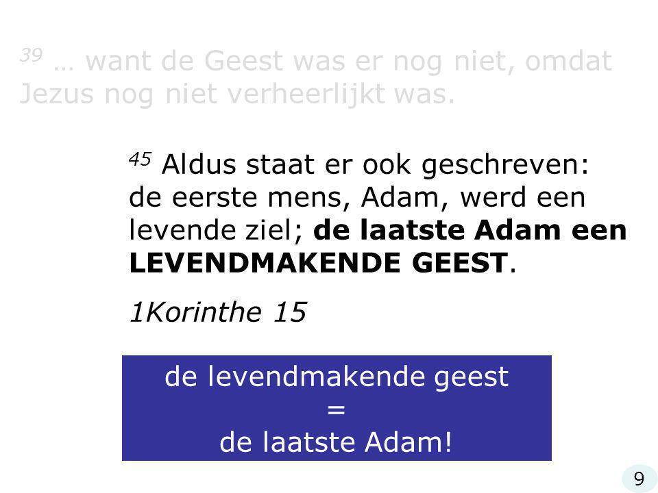 de levendmakende geest = de laatste Adam!