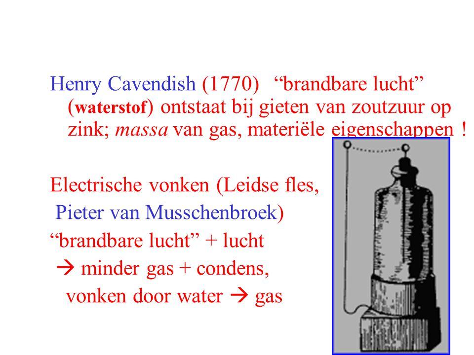 Henry Cavendish (1770) brandbare lucht (waterstof) ontstaat bij gieten van zoutzuur op zink; massa van gas, materiële eigenschappen !