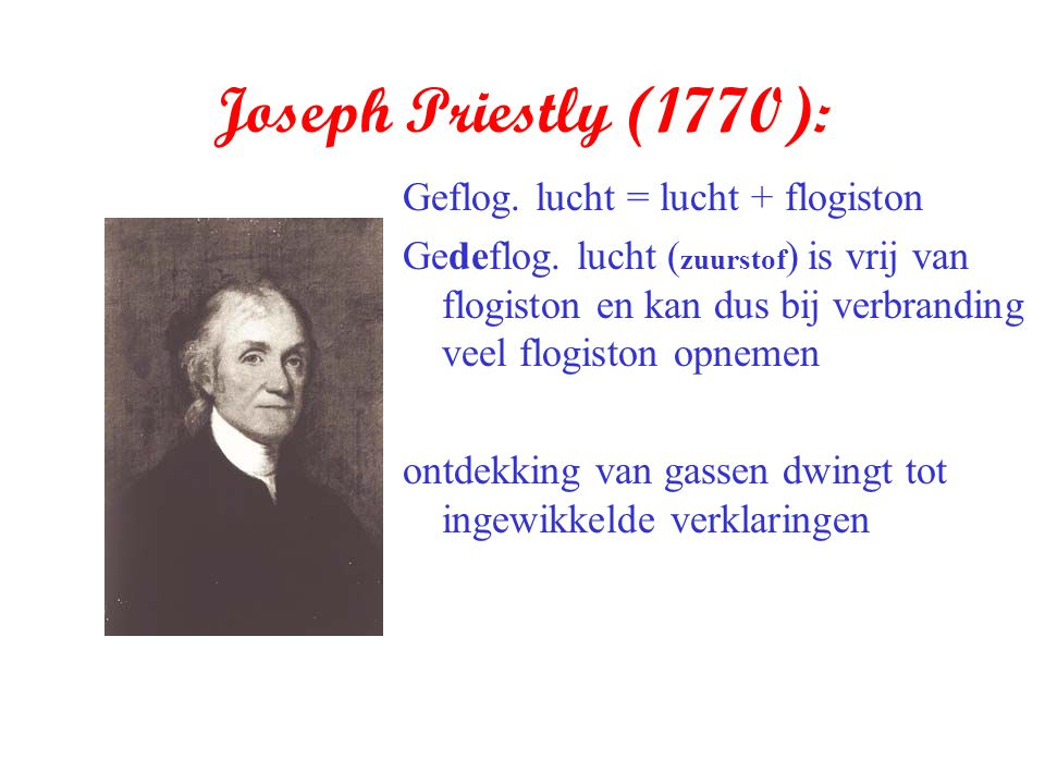 Joseph Priestly (1770): Geflog. lucht = lucht + flogiston