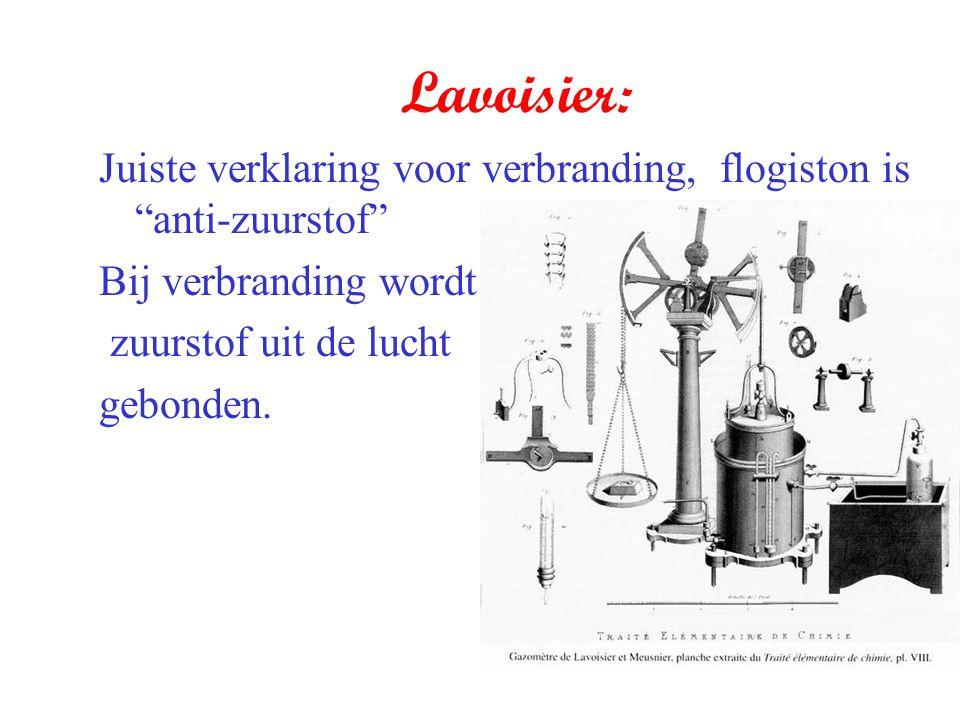 Lavoisier: Juiste verklaring voor verbranding, flogiston is anti-zuurstof Bij verbranding wordt.