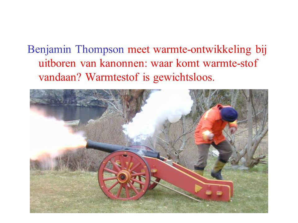 Benjamin Thompson meet warmte-ontwikkeling bij uitboren van kanonnen: waar komt warmte-stof vandaan.