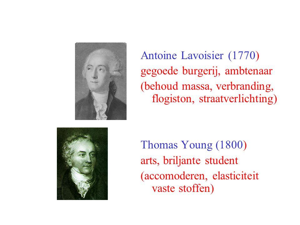 Antoine Lavoisier (1770) gegoede burgerij, ambtenaar. (behoud massa, verbranding, flogiston, straatverlichting)