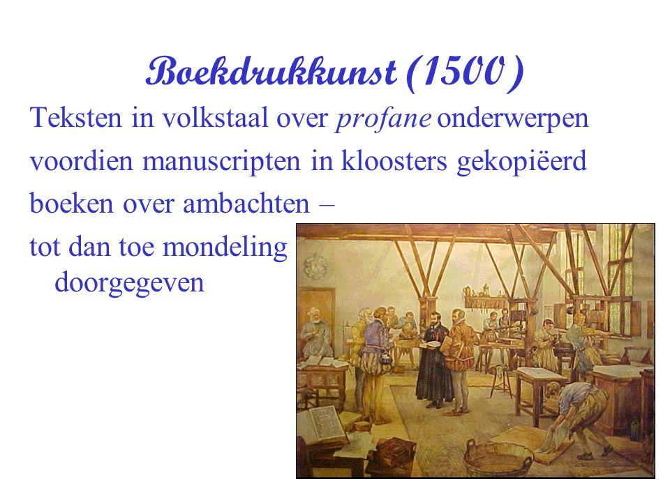 Boekdrukkunst (1500) Teksten in volkstaal over profane onderwerpen