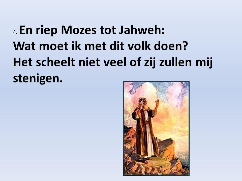 4. En riep Mozes tot Jahweh: Wat moet ik met dit volk doen