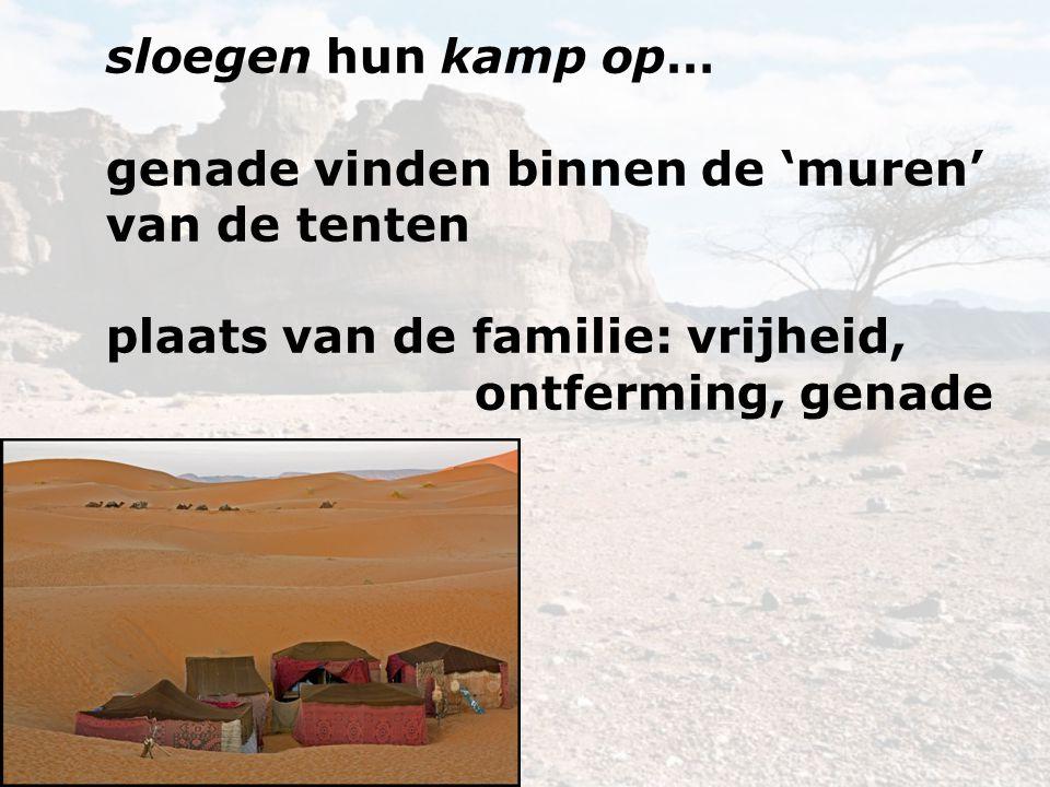 sloegen hun kamp op… genade vinden binnen de 'muren' van de tenten plaats van de familie: vrijheid, ontferming, genade.