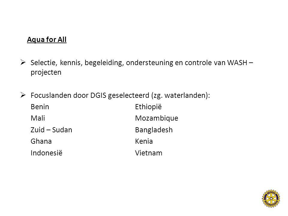 Aqua for All Selectie, kennis, begeleiding, ondersteuning en controle van WASH – projecten. Focuslanden door DGIS geselecteerd (zg. waterlanden):