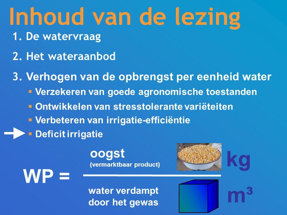 Inhoud van de lezing kg m³ WP = oogst 1. De watervraag