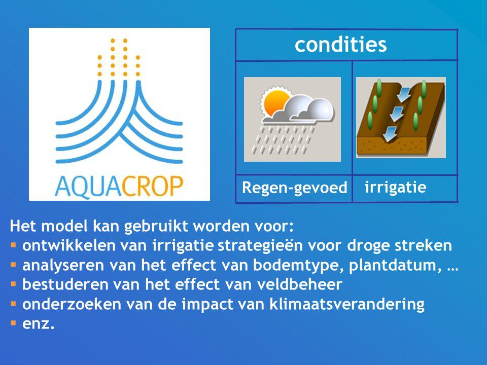 condities Regen-gevoed irrigatie Het model kan gebruikt worden voor: