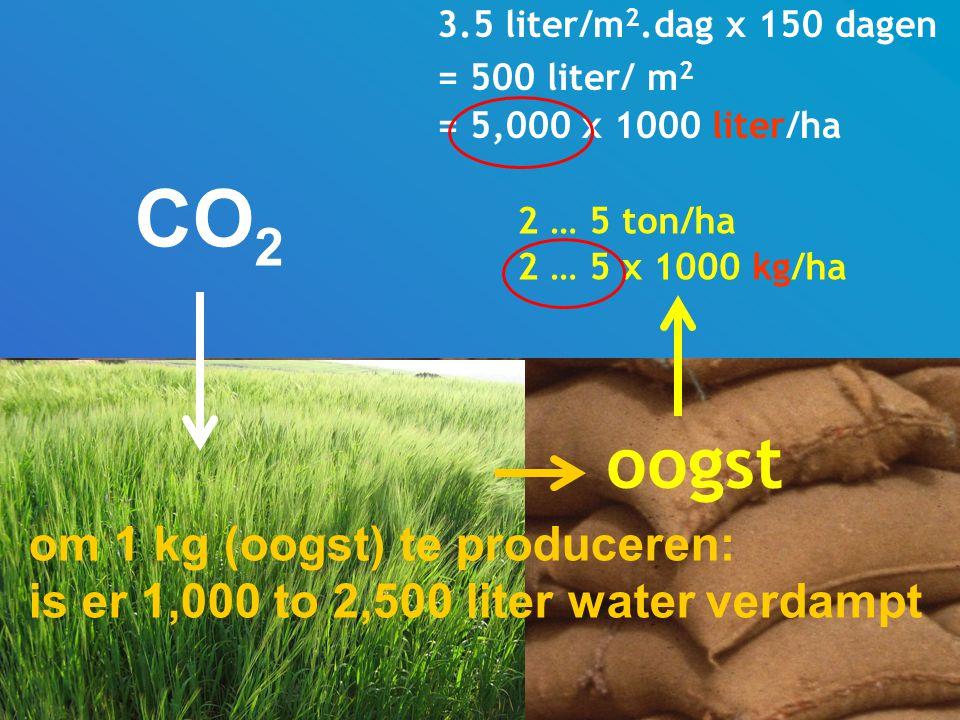 CO2 oogst om 1 kg (oogst) te produceren:
