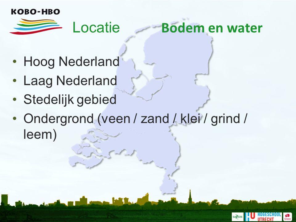 Locatie Bodem en water Hoog Nederland Laag Nederland Stedelijk gebied
