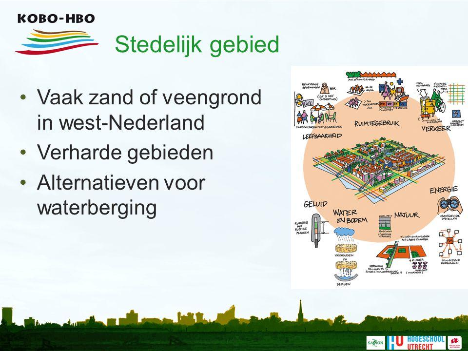 Stedelijk gebied Vaak zand of veengrond in west-Nederland