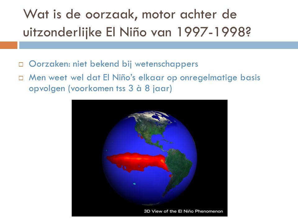 Wat is de oorzaak, motor achter de uitzonderlijke El Niño van 1997-1998