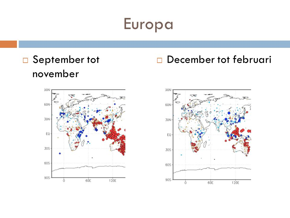 Europa September tot november December tot februari
