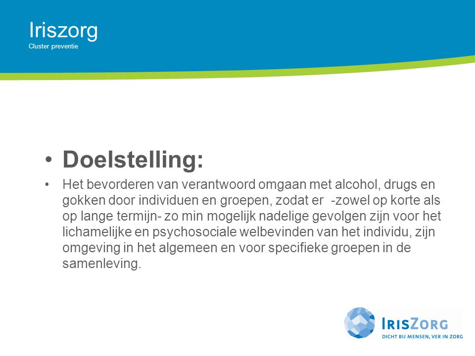 Iriszorg Cluster preventie