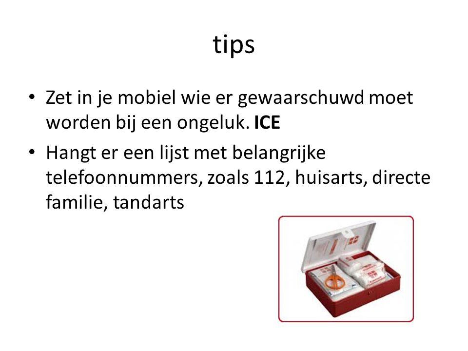 tips Zet in je mobiel wie er gewaarschuwd moet worden bij een ongeluk. ICE.