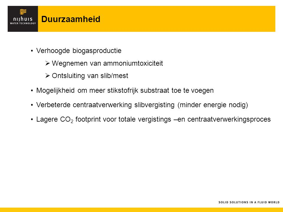 Duurzaamheid Verhoogde biogasproductie Wegnemen van ammoniumtoxiciteit