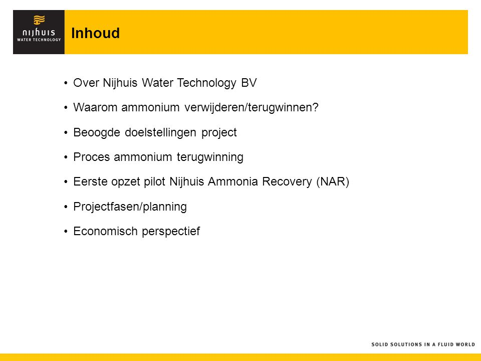 Inhoud Over Nijhuis Water Technology BV