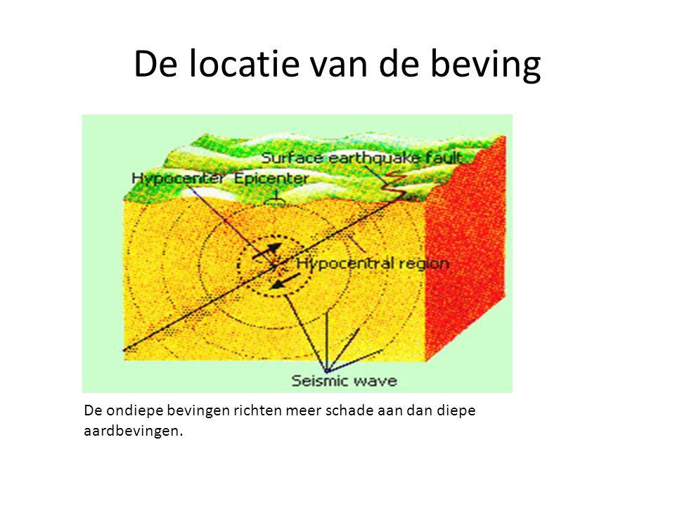 De locatie van de beving