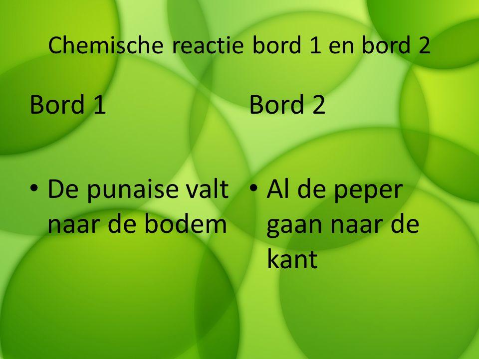 Chemische reactie bord 1 en bord 2