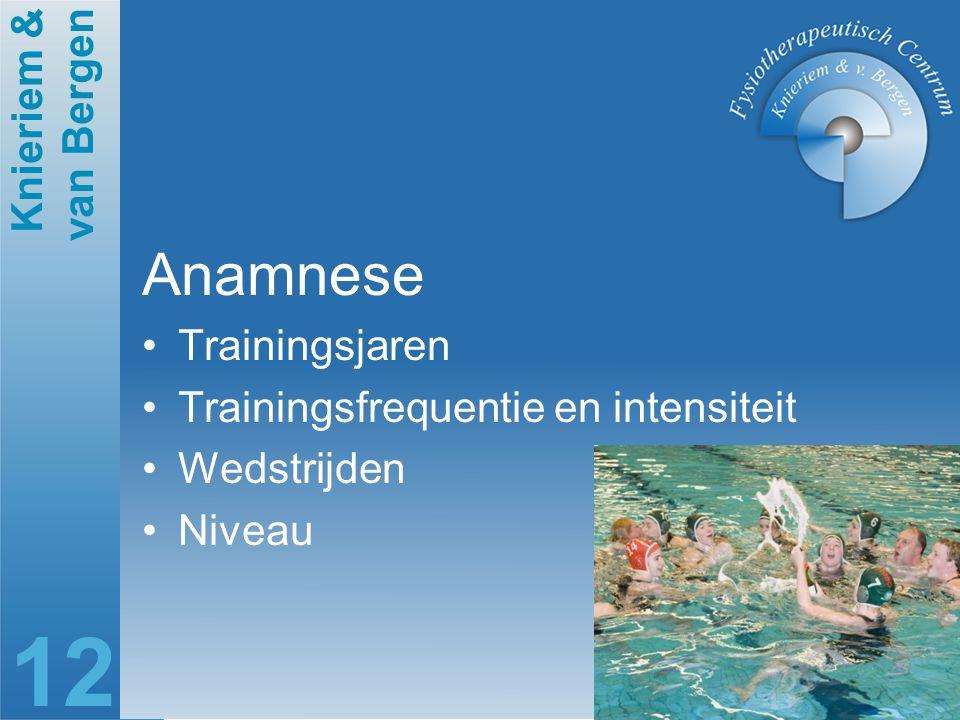 Anamnese Trainingsjaren Trainingsfrequentie en intensiteit Wedstrijden