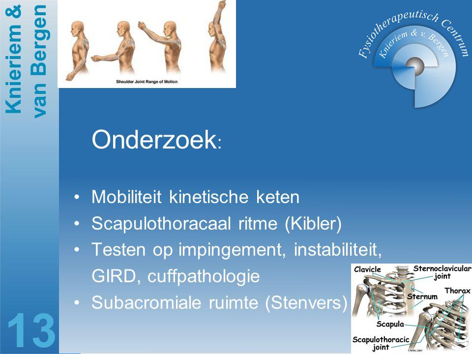 Onderzoek: Mobiliteit kinetische keten Scapulothoracaal ritme (Kibler)