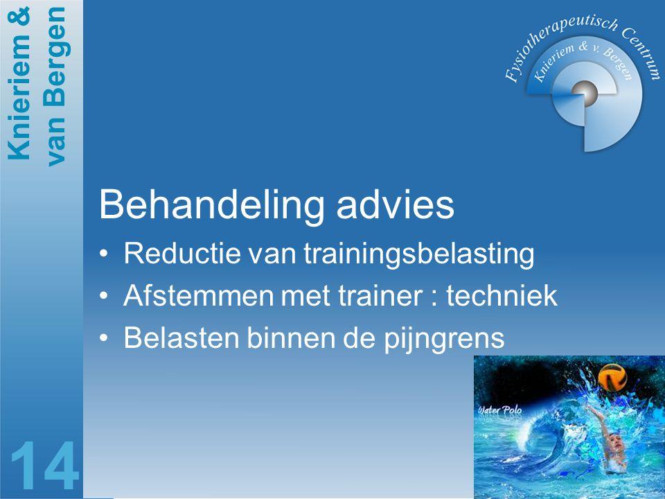 Behandeling advies Reductie van trainingsbelasting