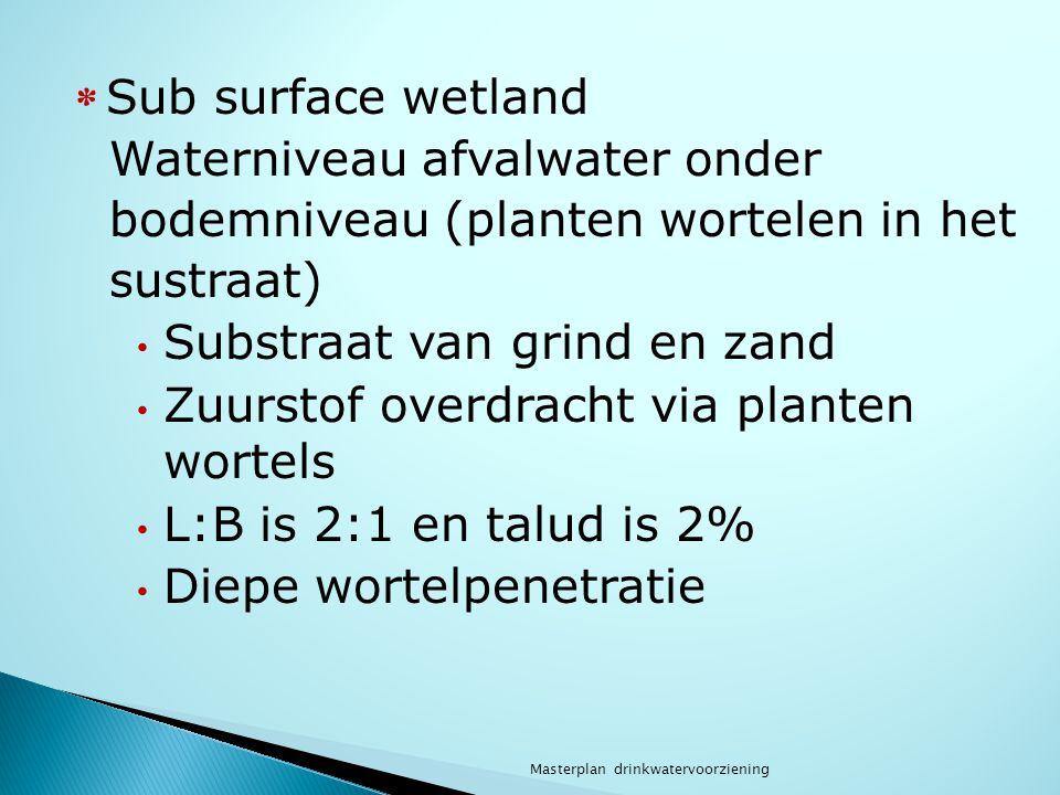 Waterniveau afvalwater onder bodemniveau (planten wortelen in het