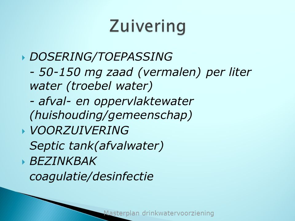 Zuivering DOSERING/TOEPASSING