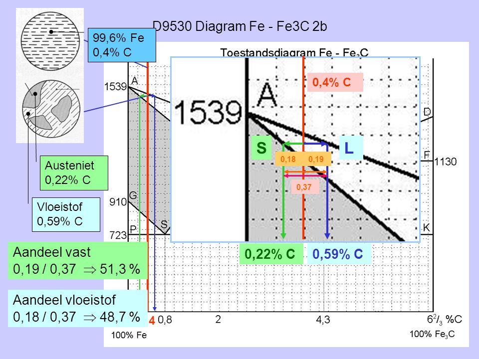 S L D9530 Diagram Fe - Fe3C 2b Aandeel vast 0,19 / 0,37  51,3 %