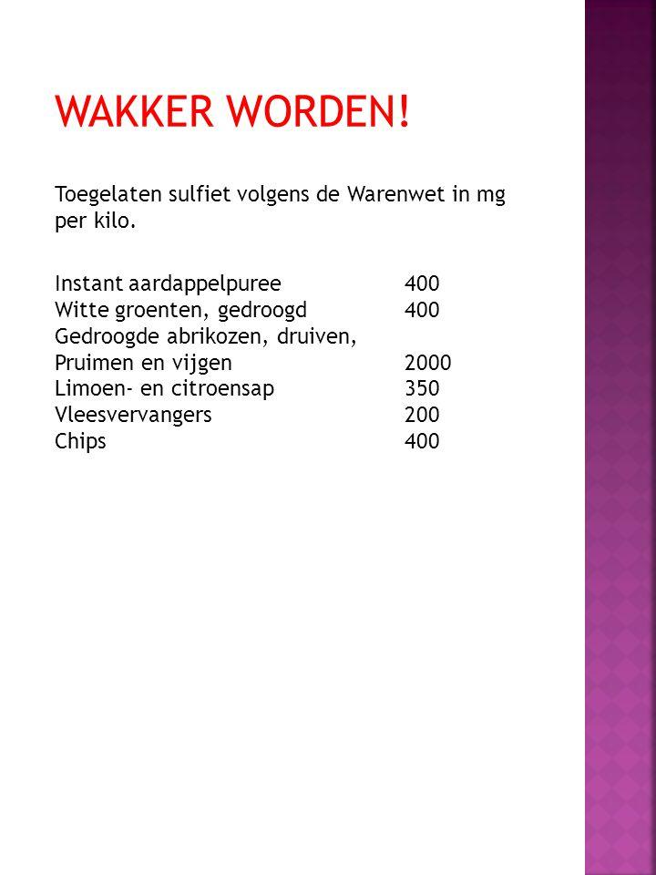 Wakker worden! Toegelaten sulfiet volgens de Warenwet in mg per kilo.