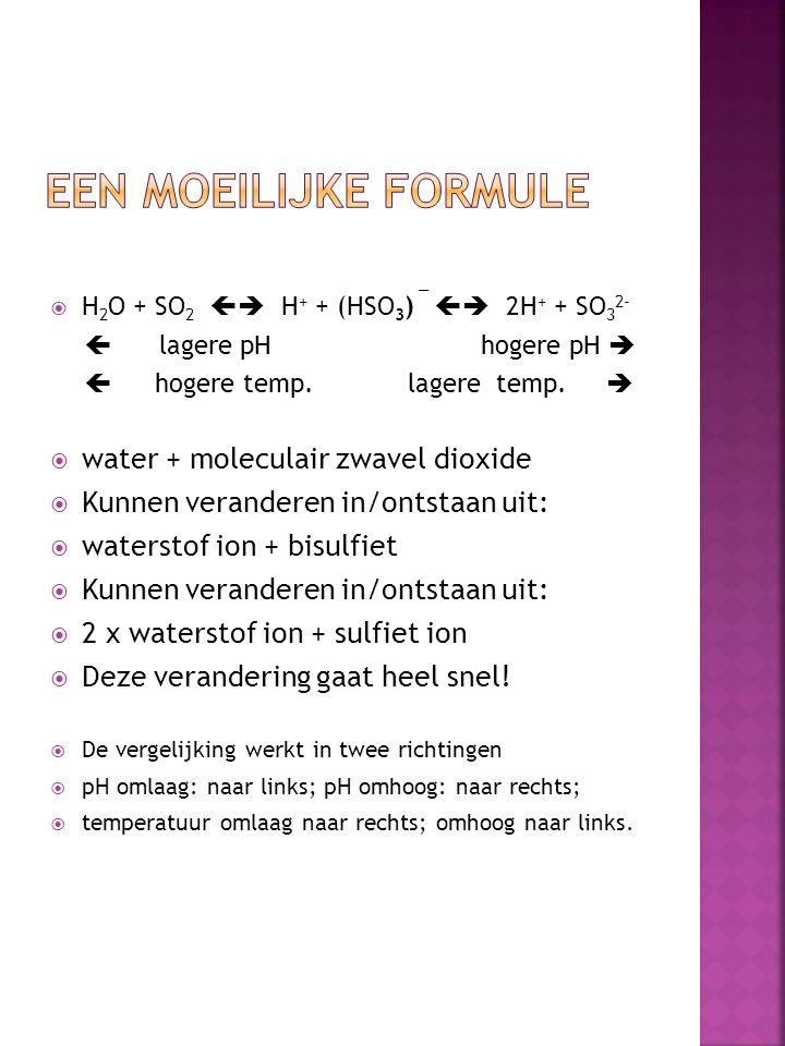 Een moeilijke formule water + moleculair zwavel dioxide