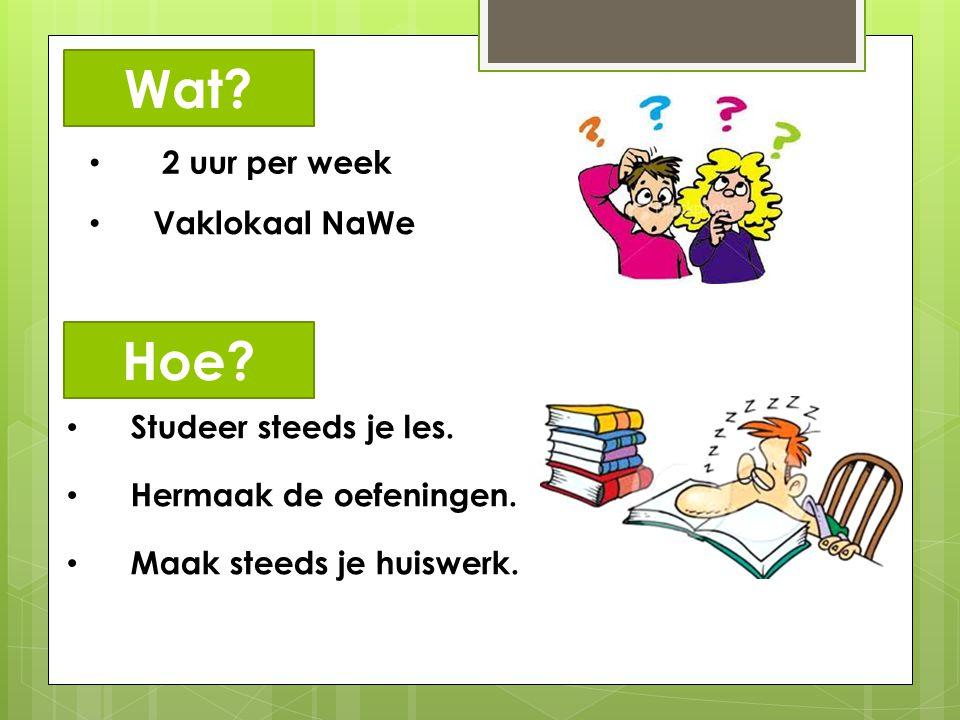 Wat Hoe 2 uur per week Vaklokaal NaWe Studeer steeds je les.