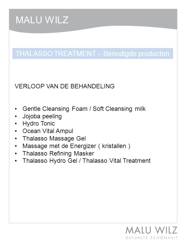THALASSO TREATMENT – Benodigde producten