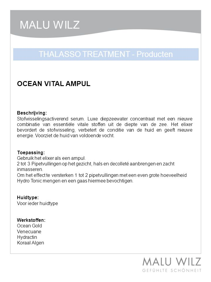 THALASSO TREATMENT - Producten