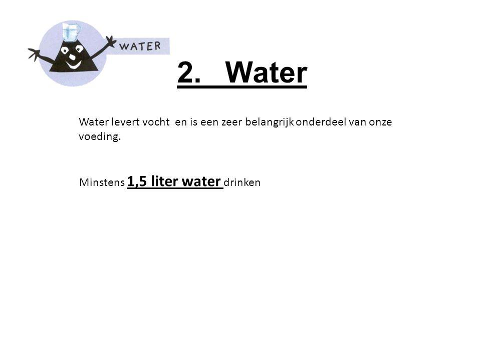 2. Water Water levert vocht en is een zeer belangrijk onderdeel van onze voeding.