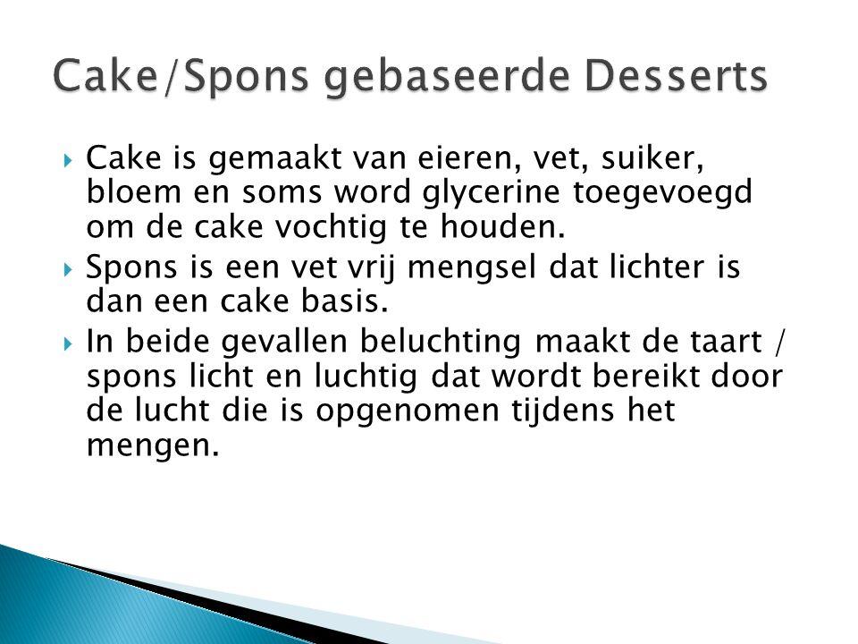 Cake/Spons gebaseerde Desserts