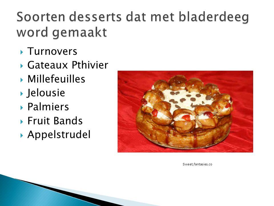 Soorten desserts dat met bladerdeeg word gemaakt