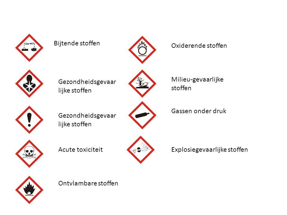 Bijtende stoffen Oxiderende stoffen. Milieu-gevaarlijke stoffen. Gezondheidsgevaarlijke stoffen. Gassen onder druk.